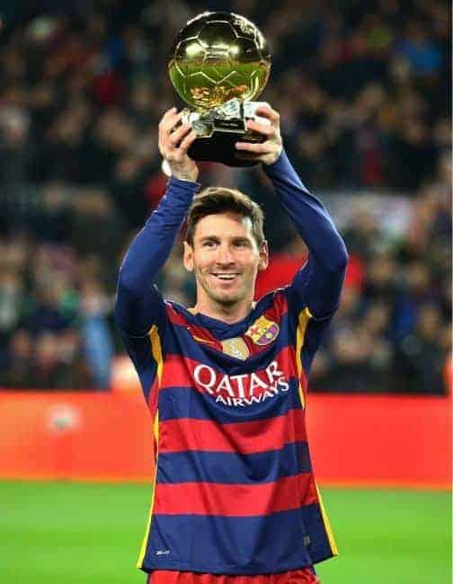 Mandatory Credit: Photo by Joan Valls/Urbanandsport/Nur/REX/Shutterstock (5543912b) Lionel Messi with the FIFA Ballon d'Or Barcelona v Atlhletic Bilbao, La Liga football match, Nou Camp, Spain - 17 Jan 2016