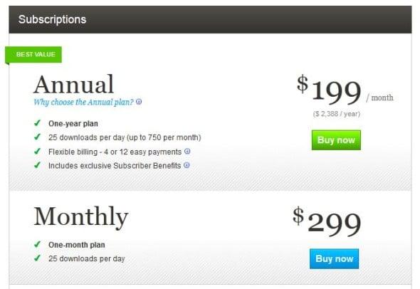 Thinkstock subscriptions comparison chart - Stock Photo Secrets