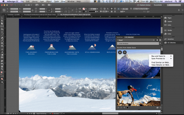 Adobe Stock integration into InDesign CC
