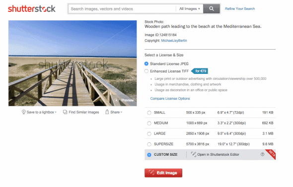 Shutterstock offers online editing of images from their search pages
