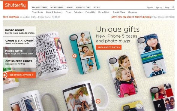 shutterfly is an online creative site for personal and corporate gifts