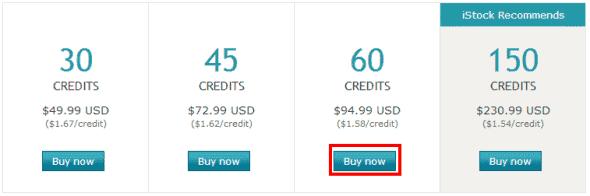 iStock buy credits