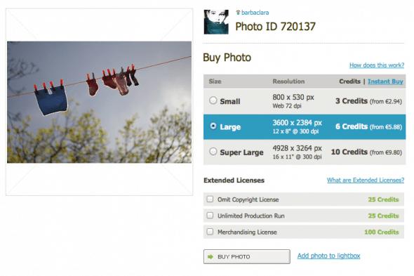 Photocase offer: Credit based or single image sale