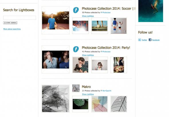Curated lightboxes at Photocase help find the right image