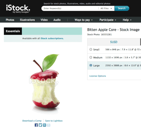 iStock Image marked as part of the Essentials collection