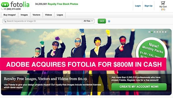 Adobe Acquires Fotolia For $800M In Cash