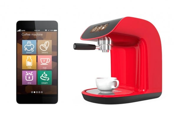 Stylish coffee machines with touch screen. control by smartphone.