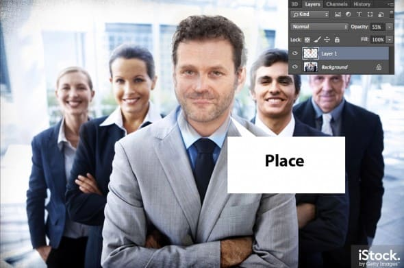 Place the new head on top of the stock image