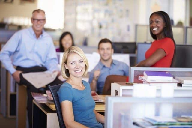 Businesspeople Smiling Open Office