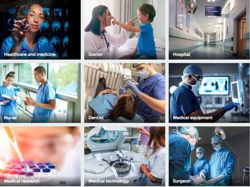 Screenshot van iStock medische afbeeldingen