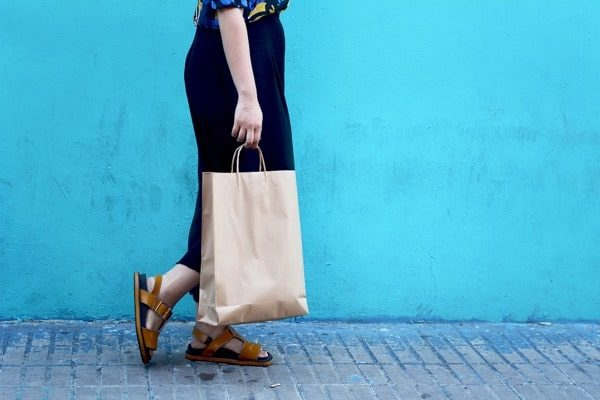 Woman Walking Shopping Bag